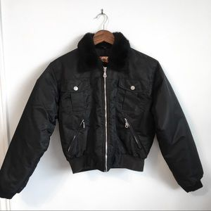 Vintage Padded Bomber with Faux Fur Collar